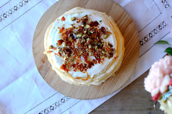 Crepe Cake with Orange Curd Pistachio Praline
