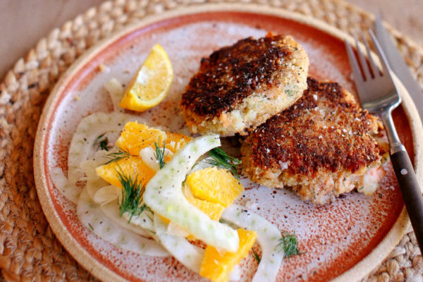 Oat and Walnut Crusted Salmon Cakes with Fennel Salad