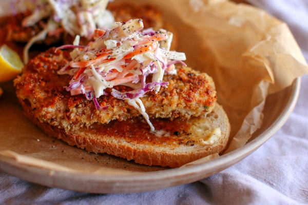 Dukkah Crusted Open Pork Schnitzel Sandwiches with apple Slaw