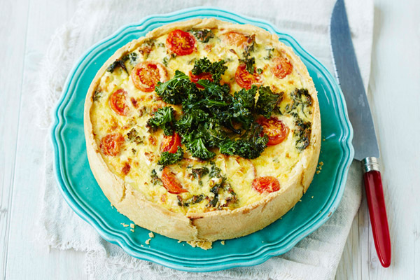 Ricotta, Vegetable Tart with Kale Crisps