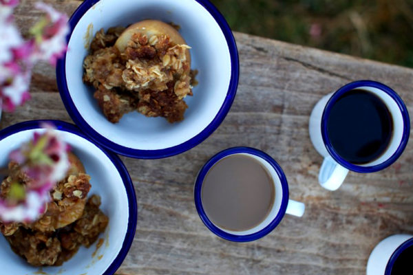 Baked Verjus Apples with Oat Crumble