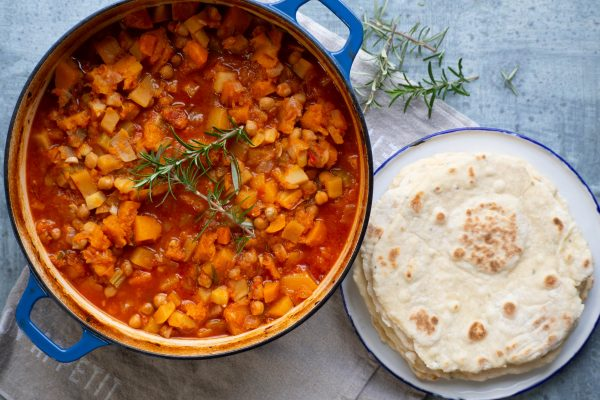 Slow Cooked Chickpeas with Winter Veg and Yoghurt Flatbreads