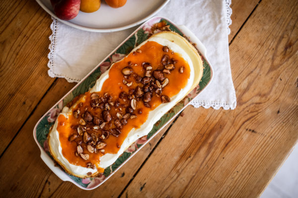 Simple Cheesecake with Roasted Apricot Purée and Praline