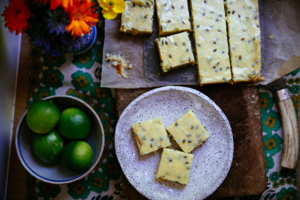 Lime and Passionfruit Slice