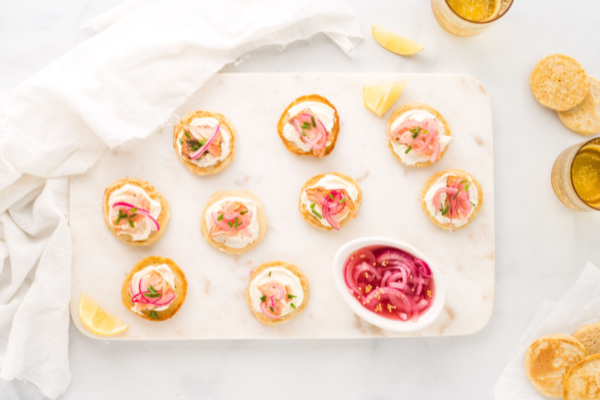 Wholemeal Blinis with Hot Smoked Salmon and Pickled Red Onion
