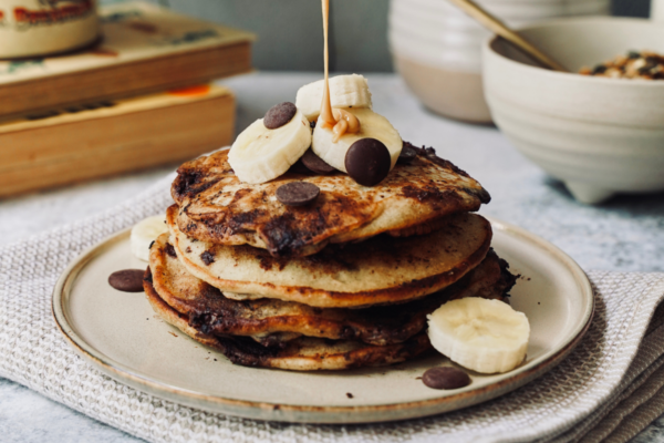 Pumping Choc Chip, Banana & Peanut Butter Pancakes