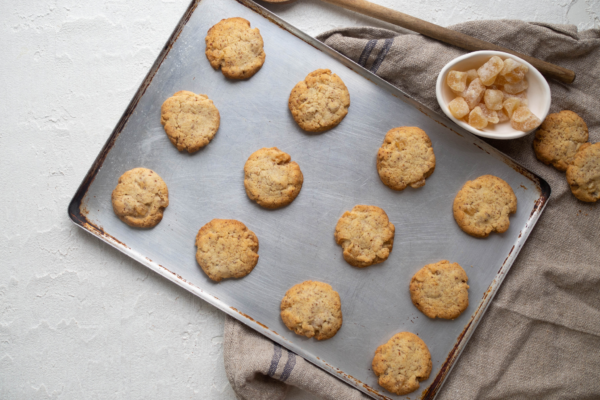 Crystallised Ginger and Almond Biscuits