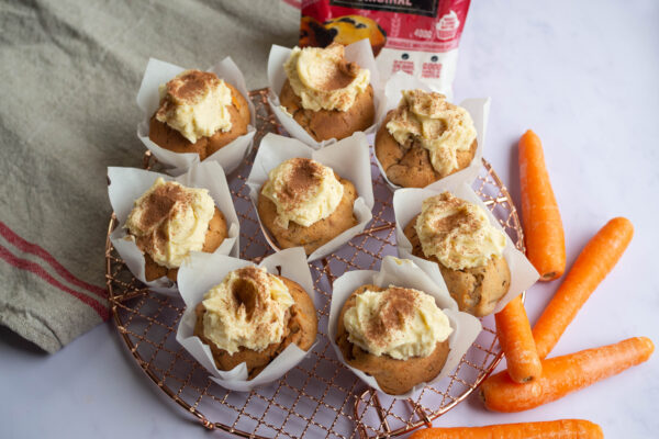 Carrot Protein Muffins with Cream Cheese Icing